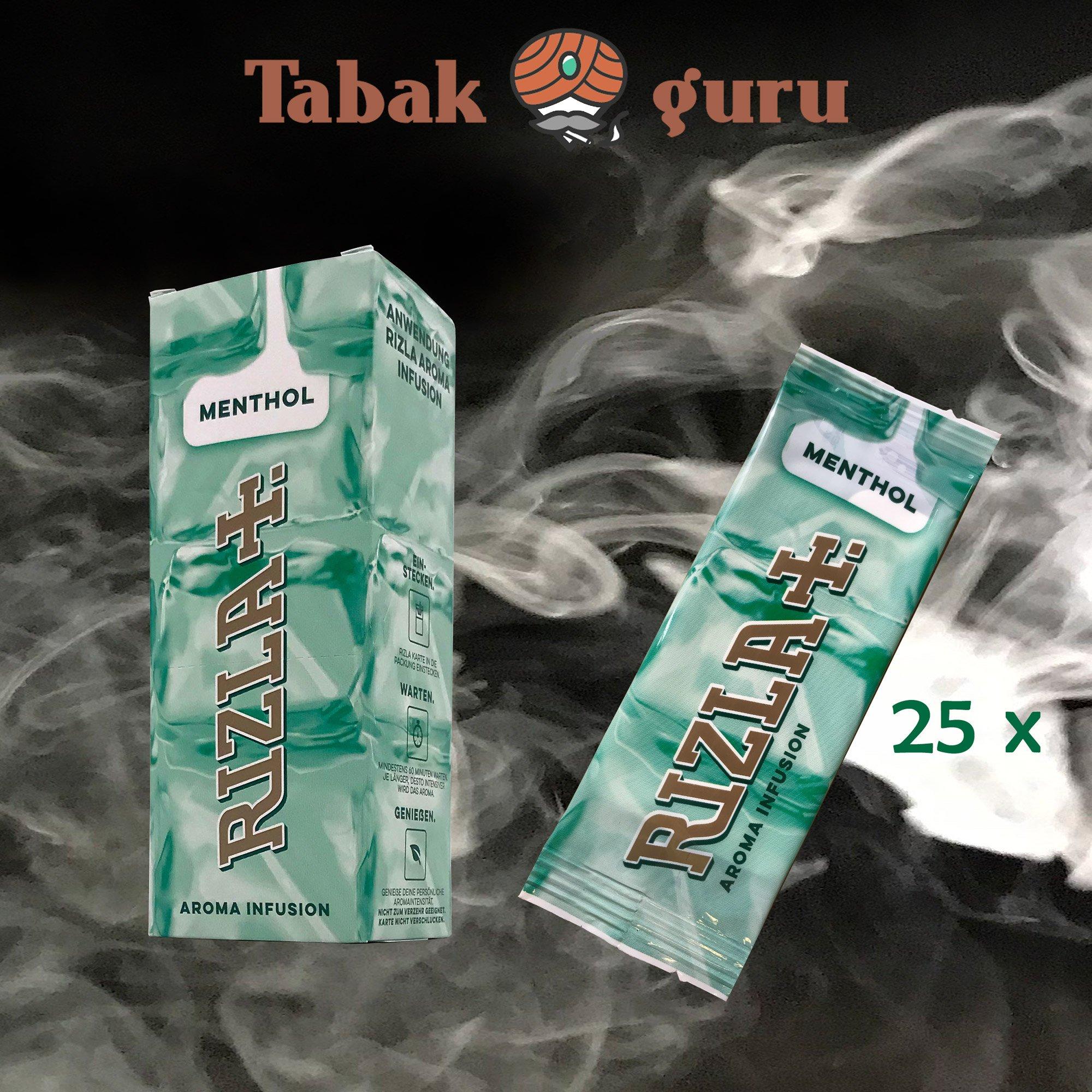 25 x Aromakarte Rizla+  MENTHOL Aroma Infusion