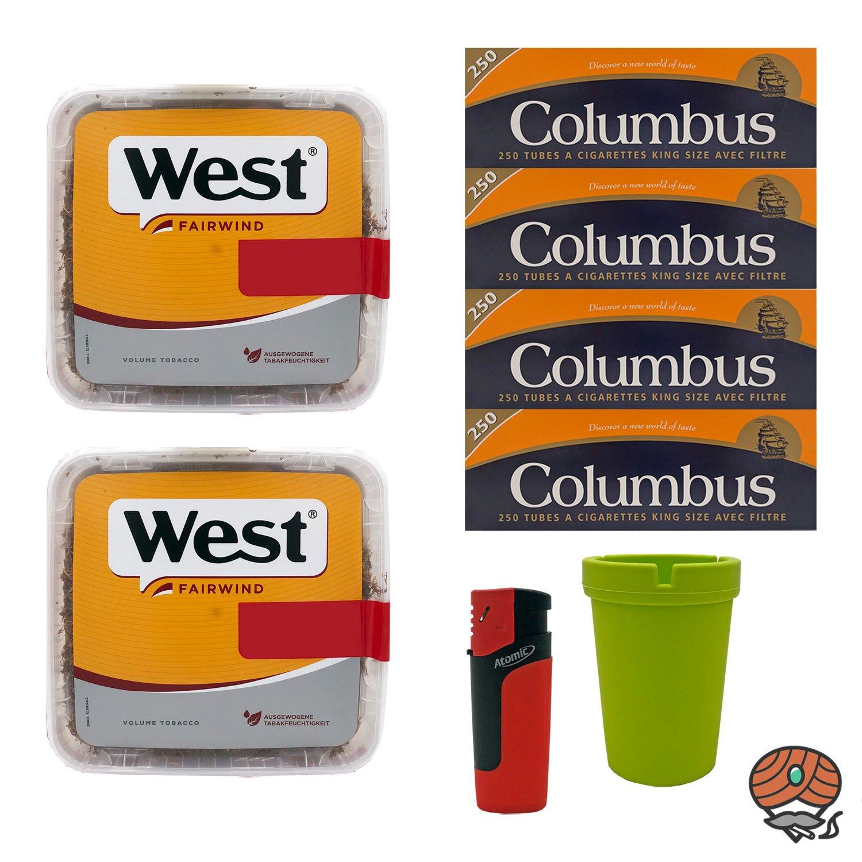 2x West Yellow Volumentabak Jumbo Box 185g + 1000 Columbus Hülsen, Sturmfeuerzeug