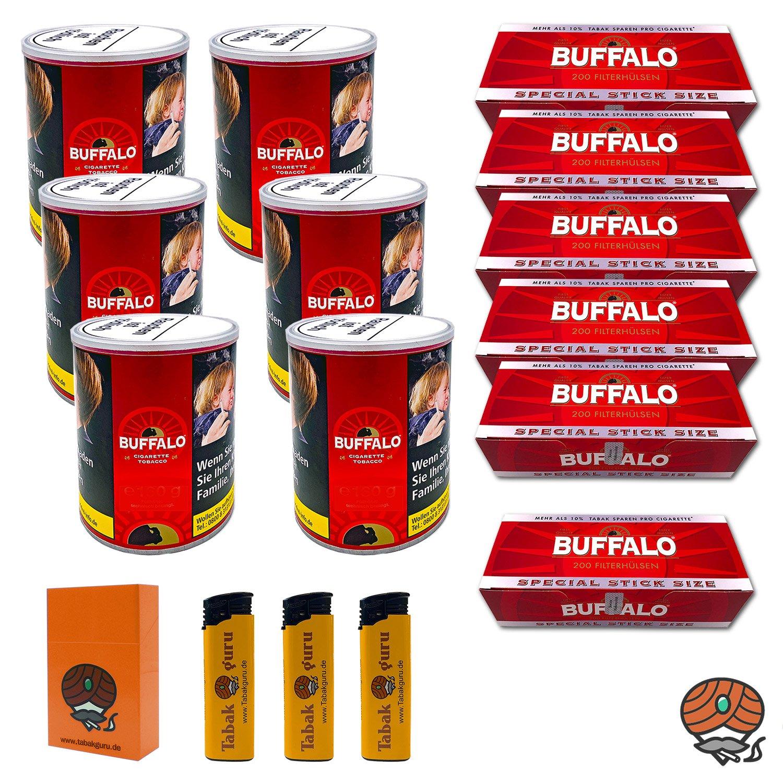 6 x Buffalo Red Feinschnitt 150 g Dose + 6 x Buffalo Red Extra-Hülsen + Zubehör