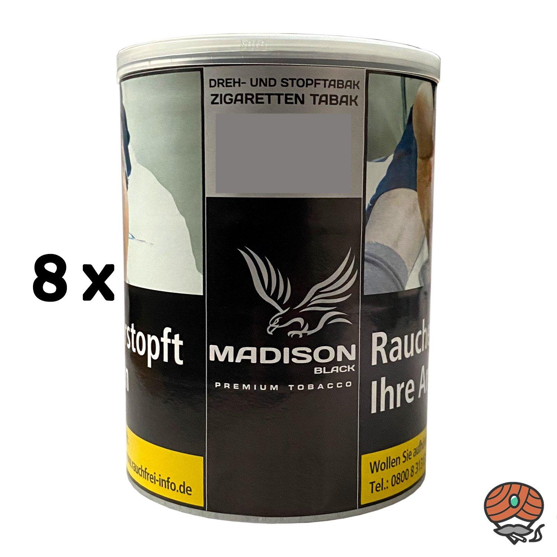 8x MADISON Black Premium Tobacco Zware Drehtabak / Stopftabak 120 g Dose