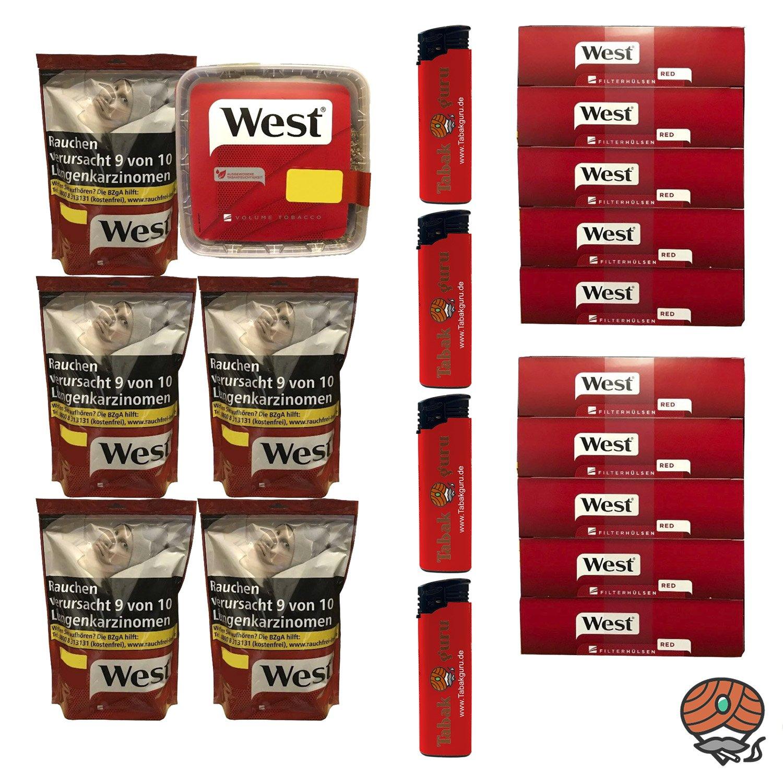 1x West Rot Tabak, 5 Beutel à 134 g + 1 Eimer à 170g + 2000 Hülsen, Feuerzeuge