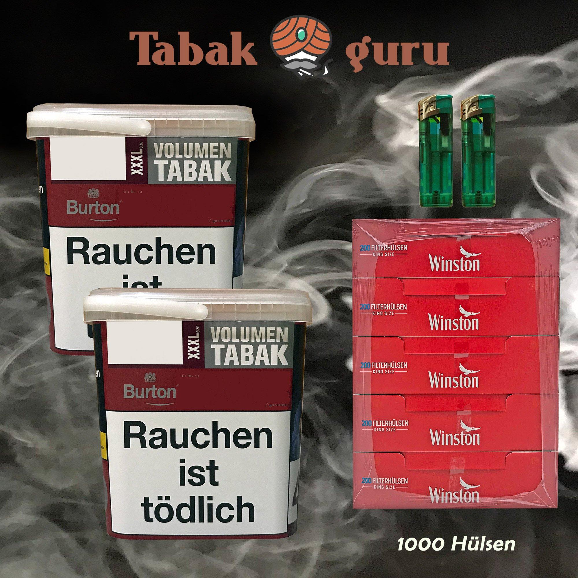 2x Burton Red Volumentabak / Zigarettentabak XXXL Eimer 370g, Hülsen, Feuerz.