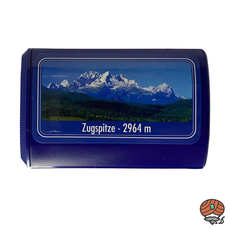 Pöschl Schnupftabakdose, blau, mit Motiv: Zugspitze