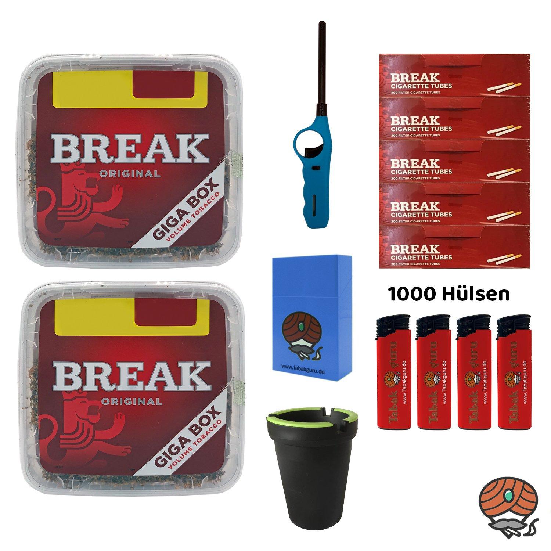2x Break Volumentabak Giga Box 230g + Hülsen + Stabfeuerzeug