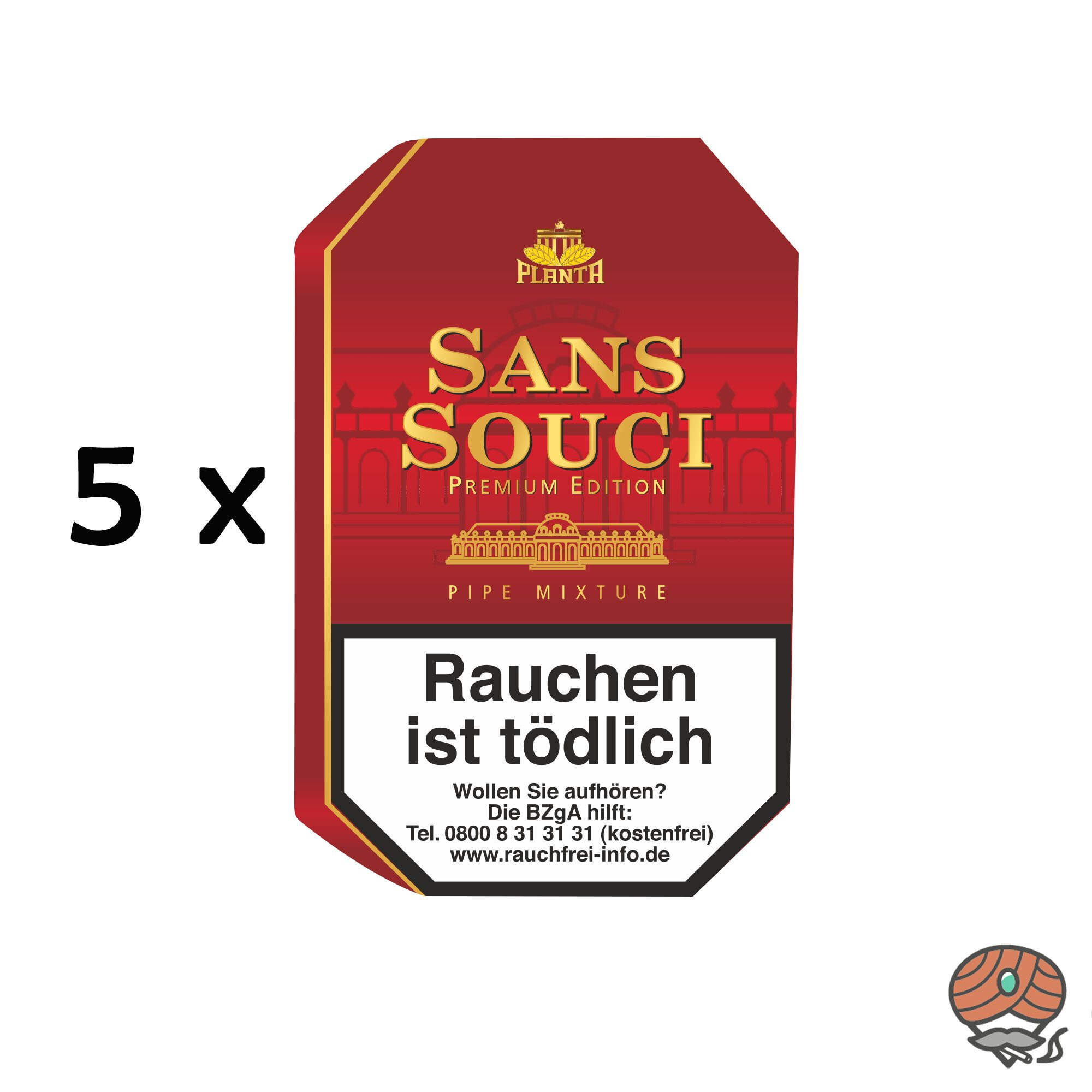 5 Dosen Sans Souci Pfeifentabak Premium Edition à 100g