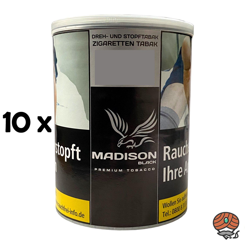 10x MADISON Black Premium Tobacco Zware Drehtabak / Stopftabak 120 g Dose