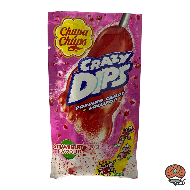 Chupa Chups Crazy Dips Strawberry Geschmack, Popping Candy + Lollipop 14 g