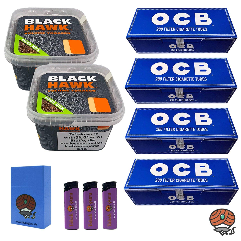 2 x Black Hawk Volumentabak 230 g Mega Box + 4 x OCB Filterhülsen + weiteres