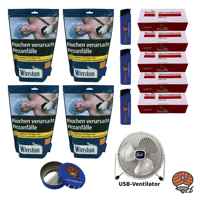 4x Winston Blue/Blau Volumentabak 135 g Beutel + King Size Hülsen + USB Ventilator