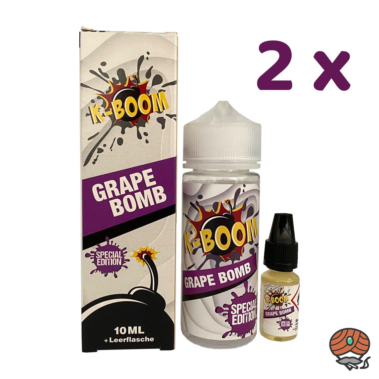 2 x K-BOOM Grape Bomb 10 ml Aroma + Leerflasche, Longfill