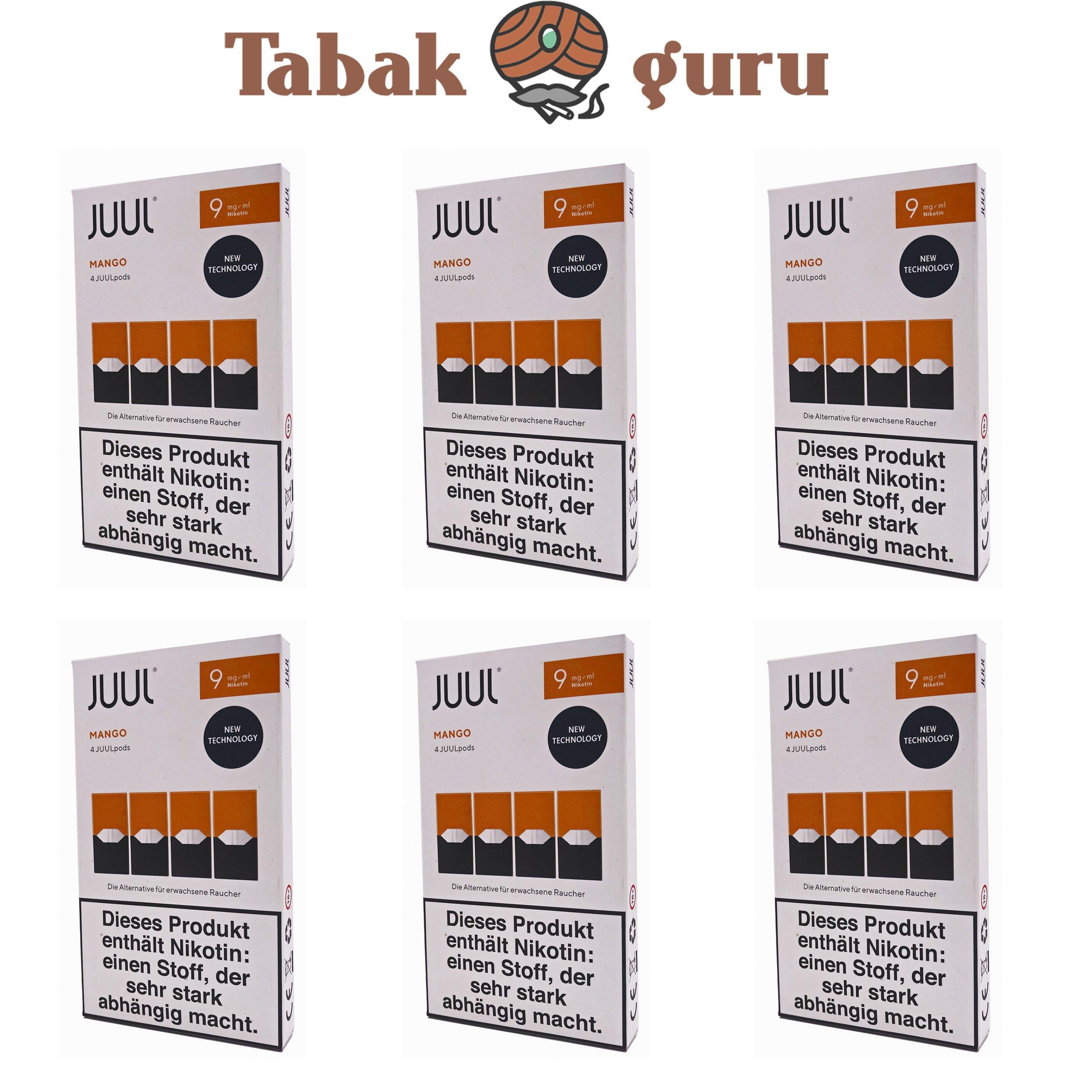 JUUL 6 Packungen Mango Pods 9mg/ml á 4 Pods