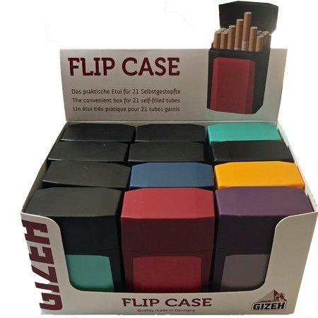 1 Display Gizeh Flip Cases Zigarettenetui à 12 Stück verschieden farbig sortiert