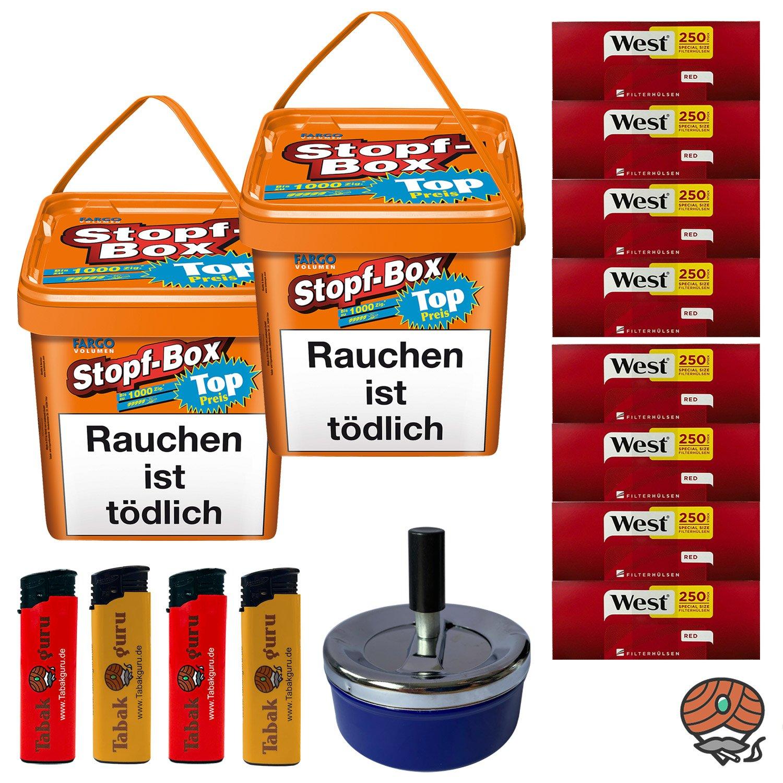 2 x Fargo Stopf-Box 480 g Volumentabak + 2.000 West Extra Hülsen + Aschenbecher + Feuerzeuge
