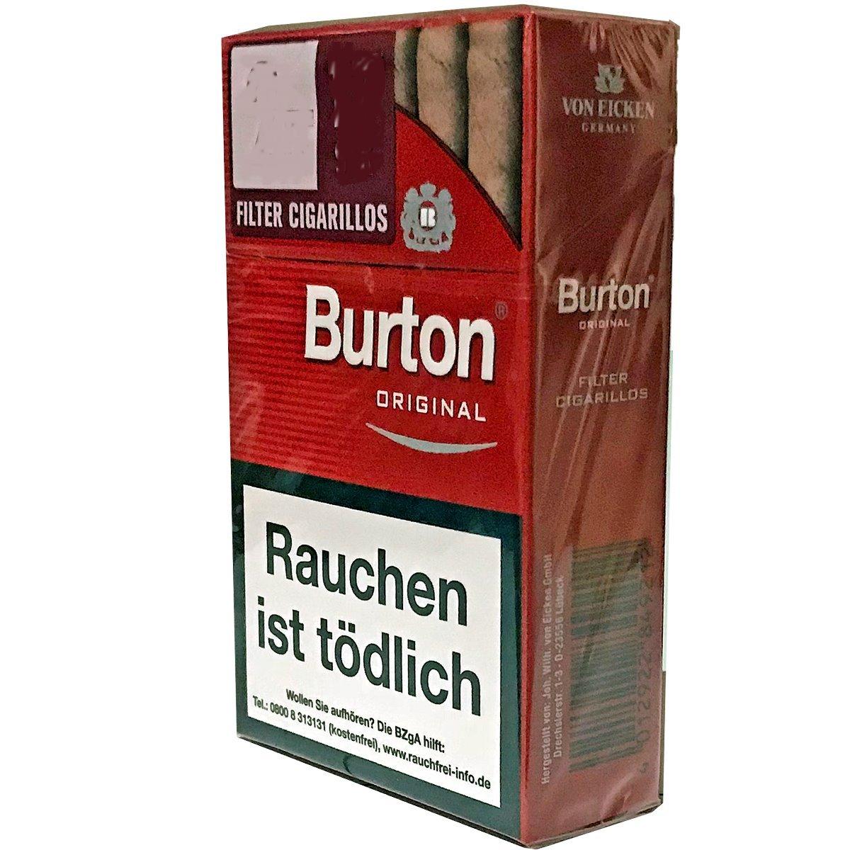 4 Stangen Burton Original Filter Cigarillos / Zigarillos (17 Stück / Schachtel)