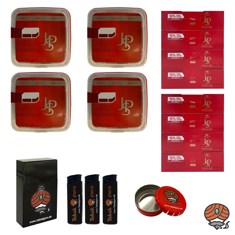 4x JPS John Player Special Mega Box Volumentabak 160g, JPS Extra Hülsen, Feuerzeuge, Zubehör
