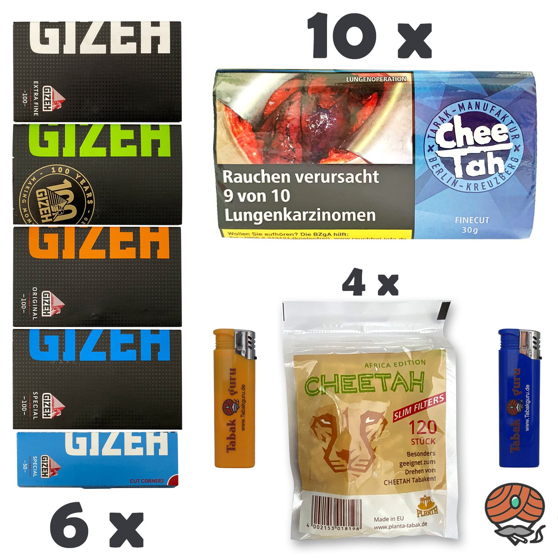 10 x Chee Tah Blau Half-Zware Shag Drehtabak Pouch, 6 x GIZEH Papers, 4 x Slim Filter