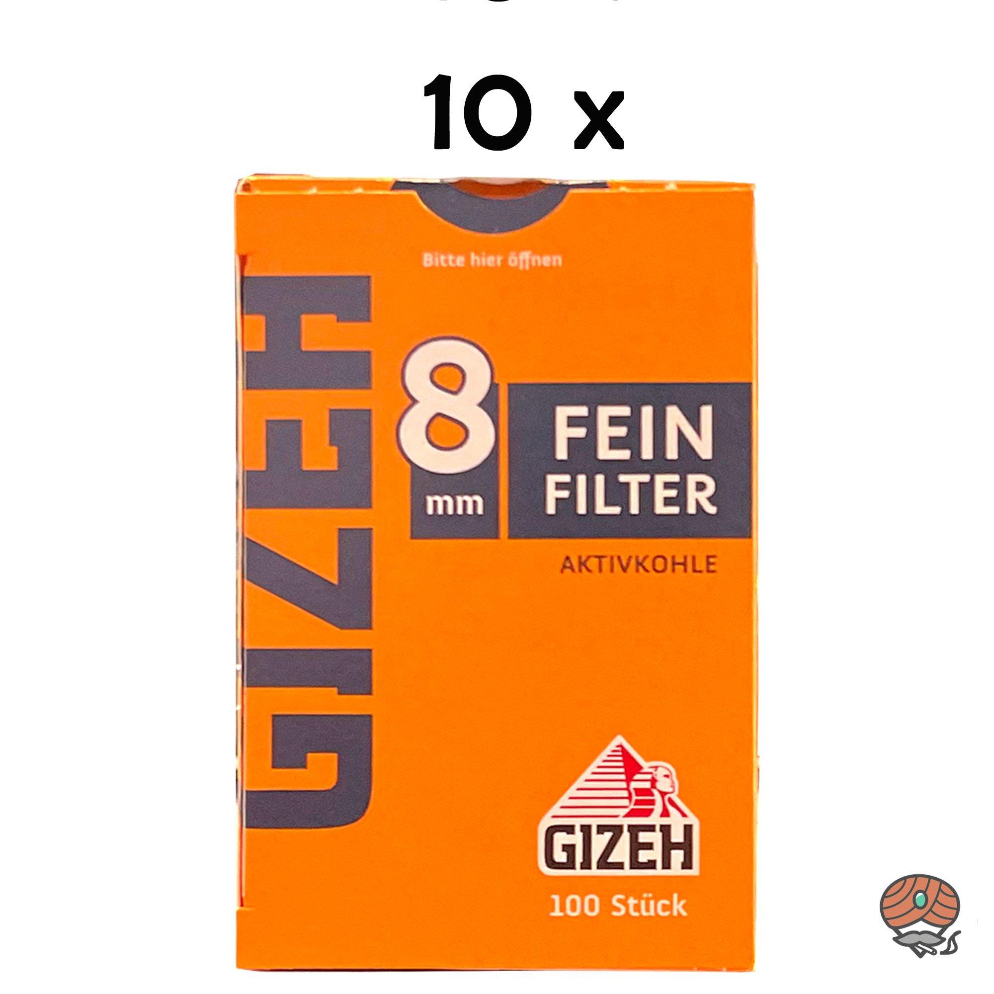 10 x Gizeh Feinfilter Aktivkohle 8 mm 1 Schachtel à 100 Feinfilter