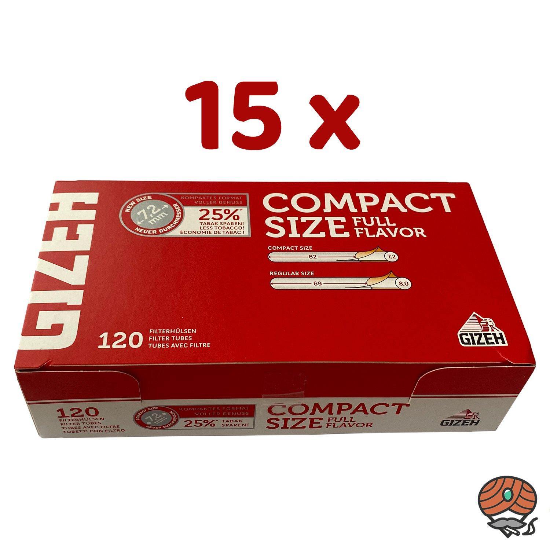 15 x Gizeh COMPACT SIZE Full Flavor Filterhülsen à 120 Stück