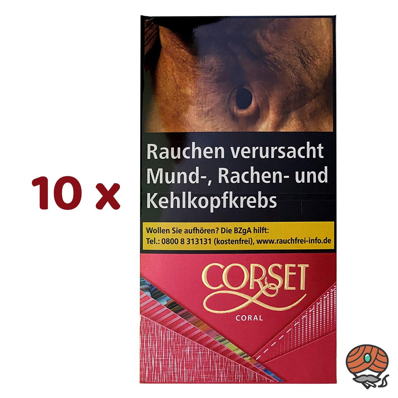 10 x CORSET CORAL 100er Slim Zigaretten à 20 Stück
