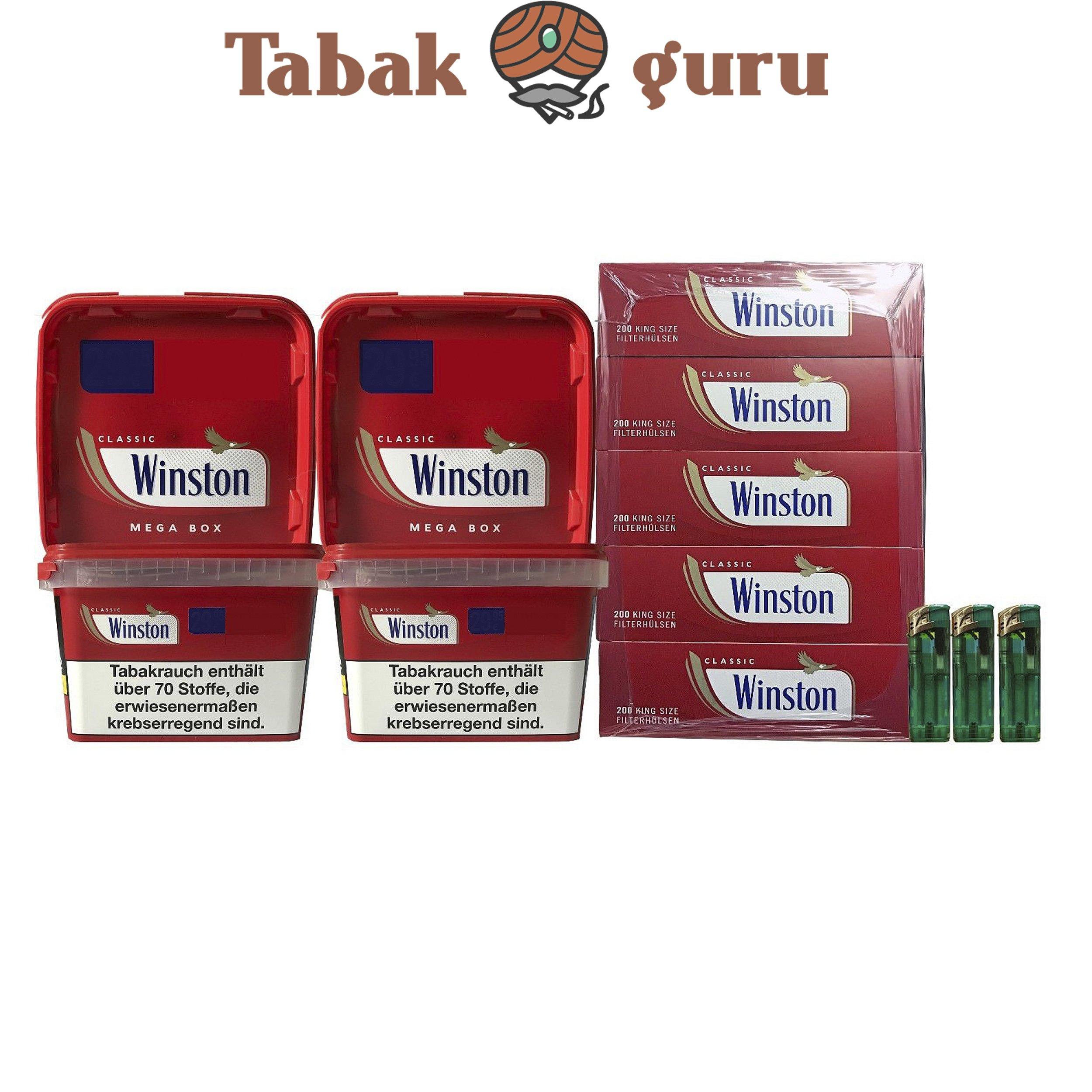 4 x Winston Tabak/Volumentabak Mega Boxes 185g, Winston Hülsen, Feuerzeuge
