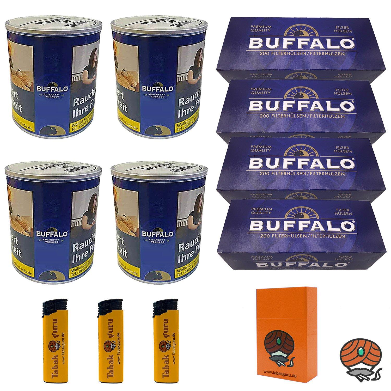 4 x Buffalo Blue Feinschnitt 150 g Dose + 4 x Buffalo Blue Hülsen + Zubehör
