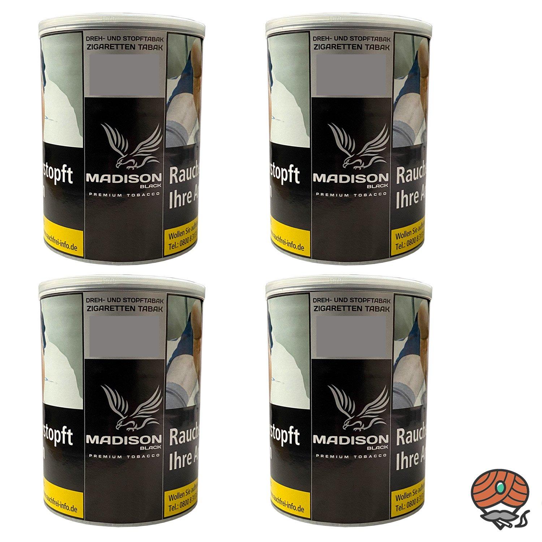 4x MADISON Black Premium Tobacco Zware Drehtabak / Stopftabak 120 g Dose