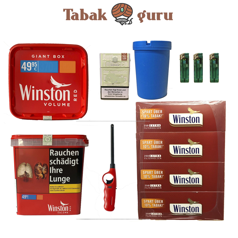 2x Winston Red/Rot Giant Box 280g Volumentabak, Extra Hülsen, Feuerz.+ Zubehör