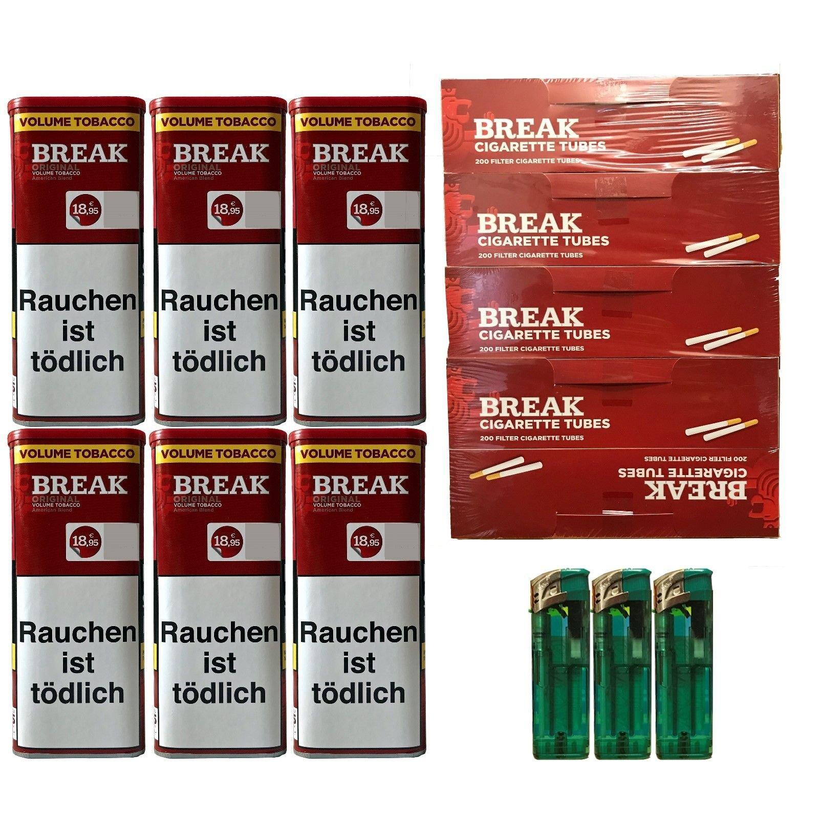 6x Break Original XXL Tabak 120g Dosen Volumentabak + Hülsen + Feuerzeuge