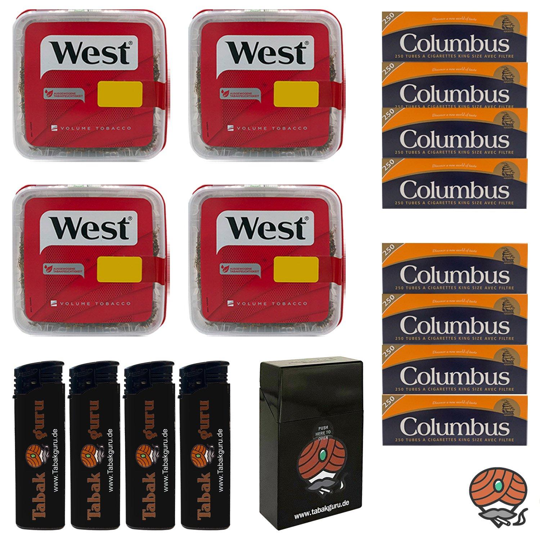4x West Red Volumentabak Box 170g + 2000 Columbus Hülsen + Zubehör