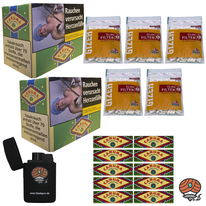 12x Canuma Drehtabak Pouch à 30g, 10x Blättchen + Filter + Feuerzeug