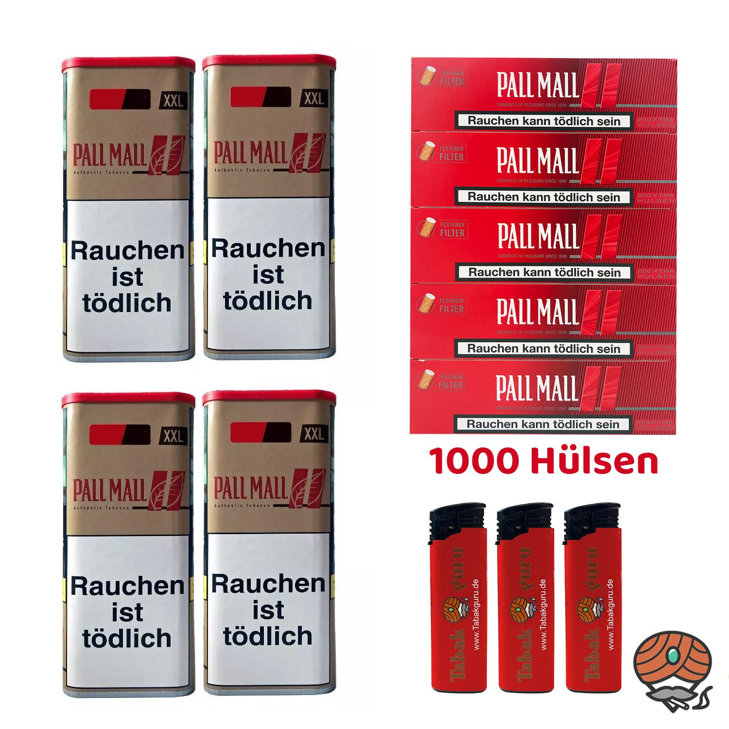 4x Pall Mall Authentic Red/Rot Tabak á 105 g, Pall Mall Xtra Hülsen, Feuerzeuge