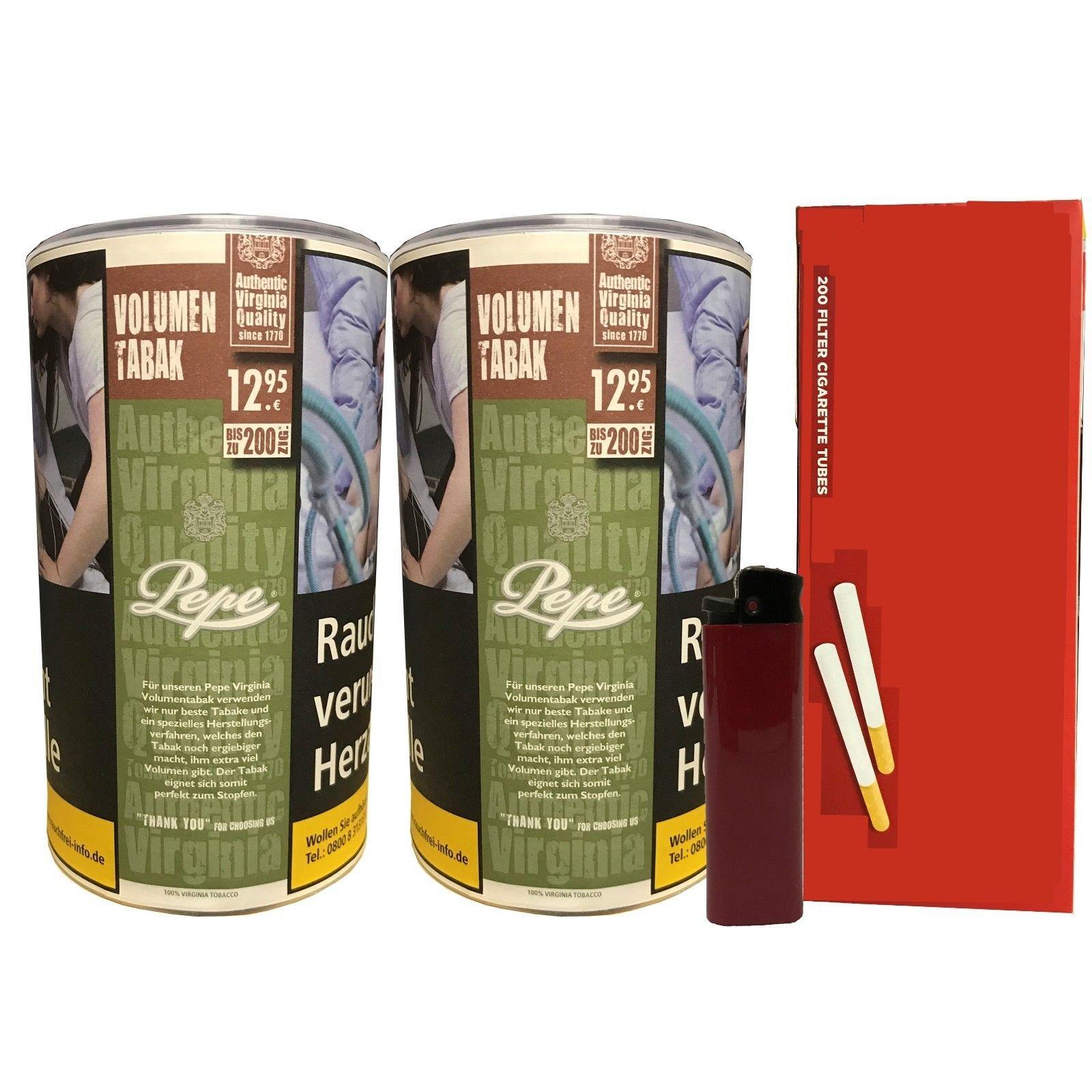 2x Pepe Rich Green Tabak / Volumentabak 85g + Feuerzeug + 200 Filterhülsen
