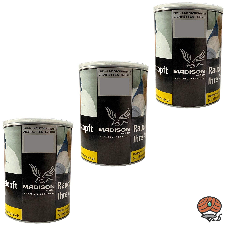 3x MADISON Black Premium Tobacco Zware Drehtabak / Stopftabak 120 g Dose