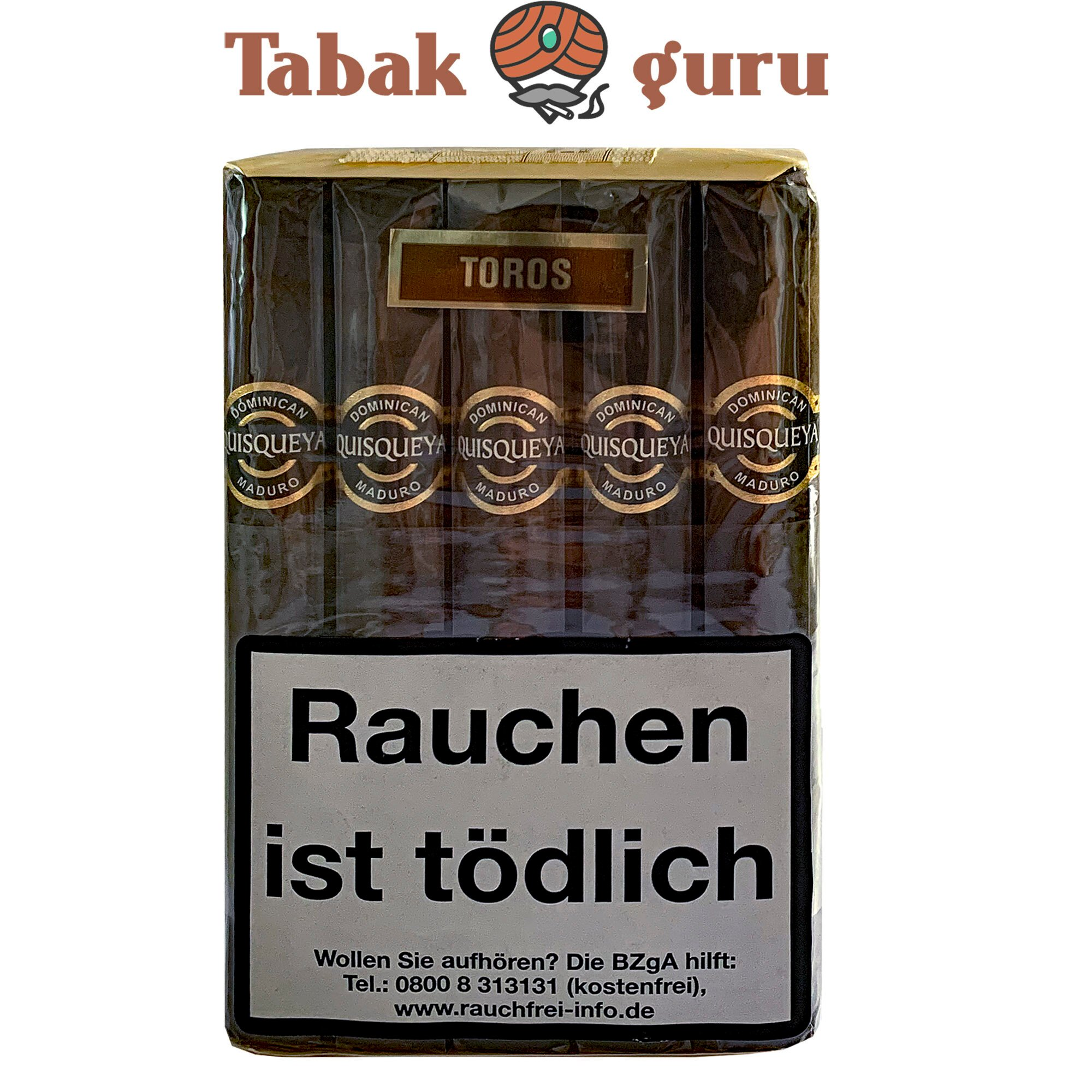 10 Quisqueya Maduro Zigarren im Toro- Format