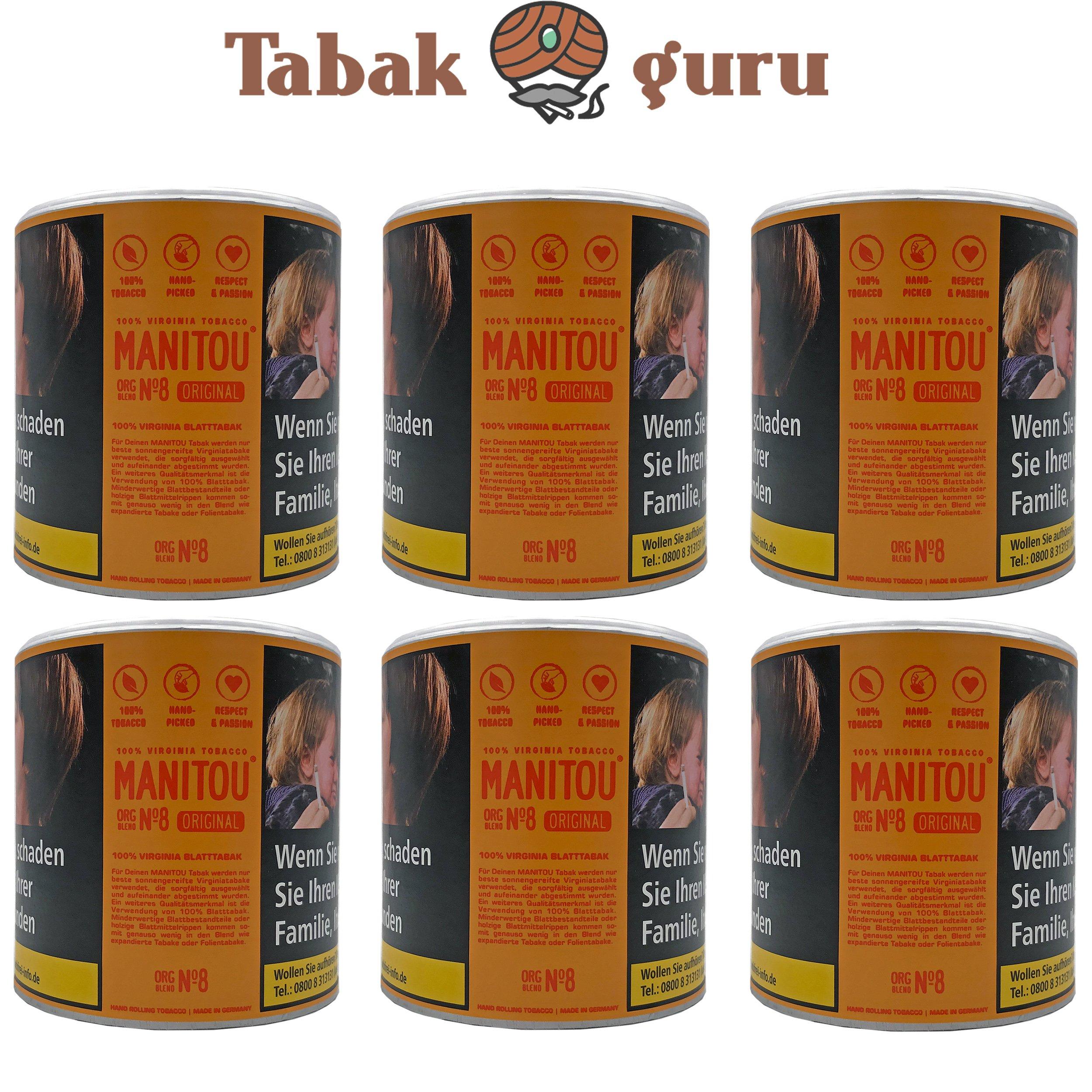 6x Manitou Orginal Blend No.8 80g Dose Drehtabak Zigarettentabak