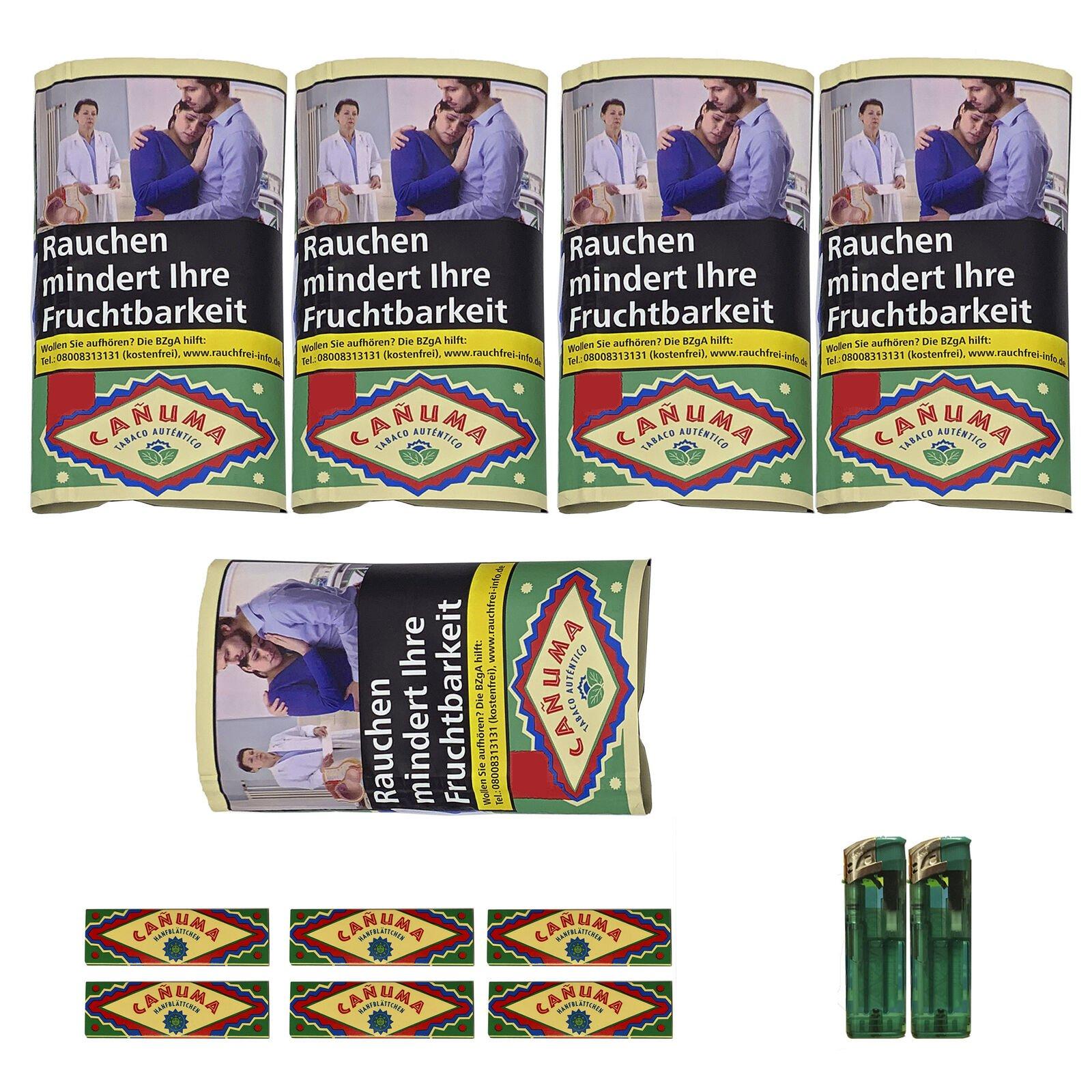 5x Canuma Drehtabak 30 g Pouch, Blätttchen + Zubehör