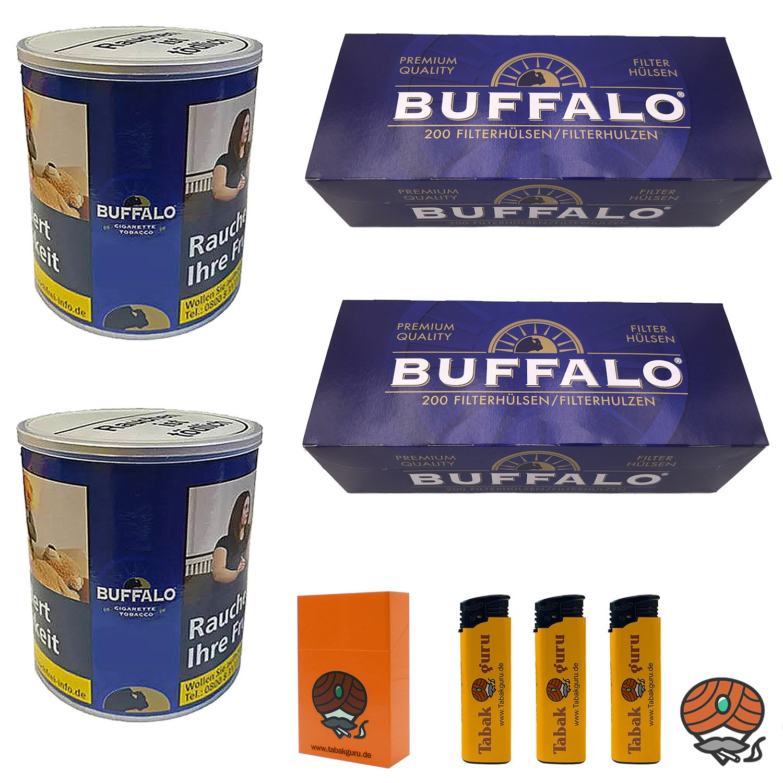 2 x Buffalo Blue Feinschnitt 150 g Dose + 2 x Buffalo Blue Hülsen + Zubehör
