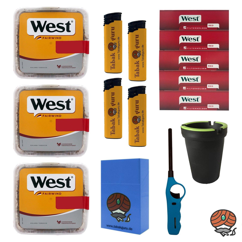 3x West Yellow Volumentabak Jumbo Box 185g + West Hülsen + Stabfeuerzeug