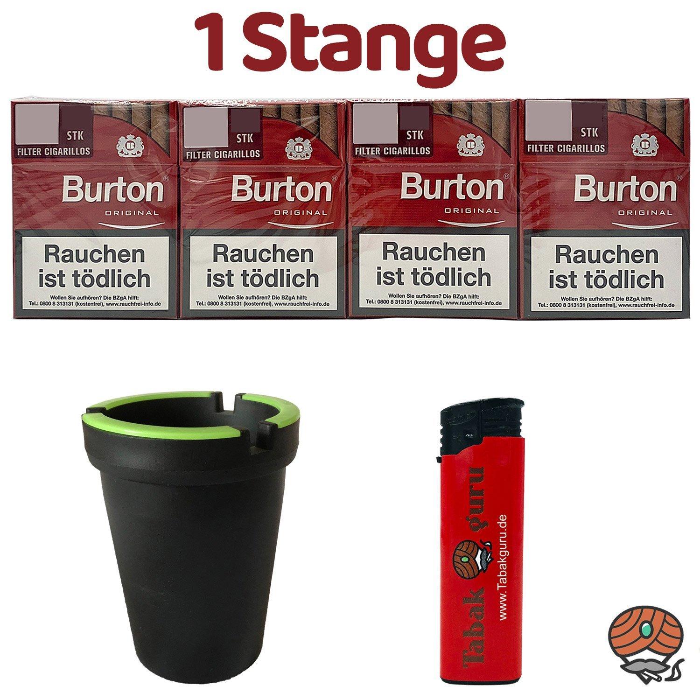 1 Stange Burton Original Filter Zigarillos (25 Stück / Schachtel) + Zubehör (Autoascher)
