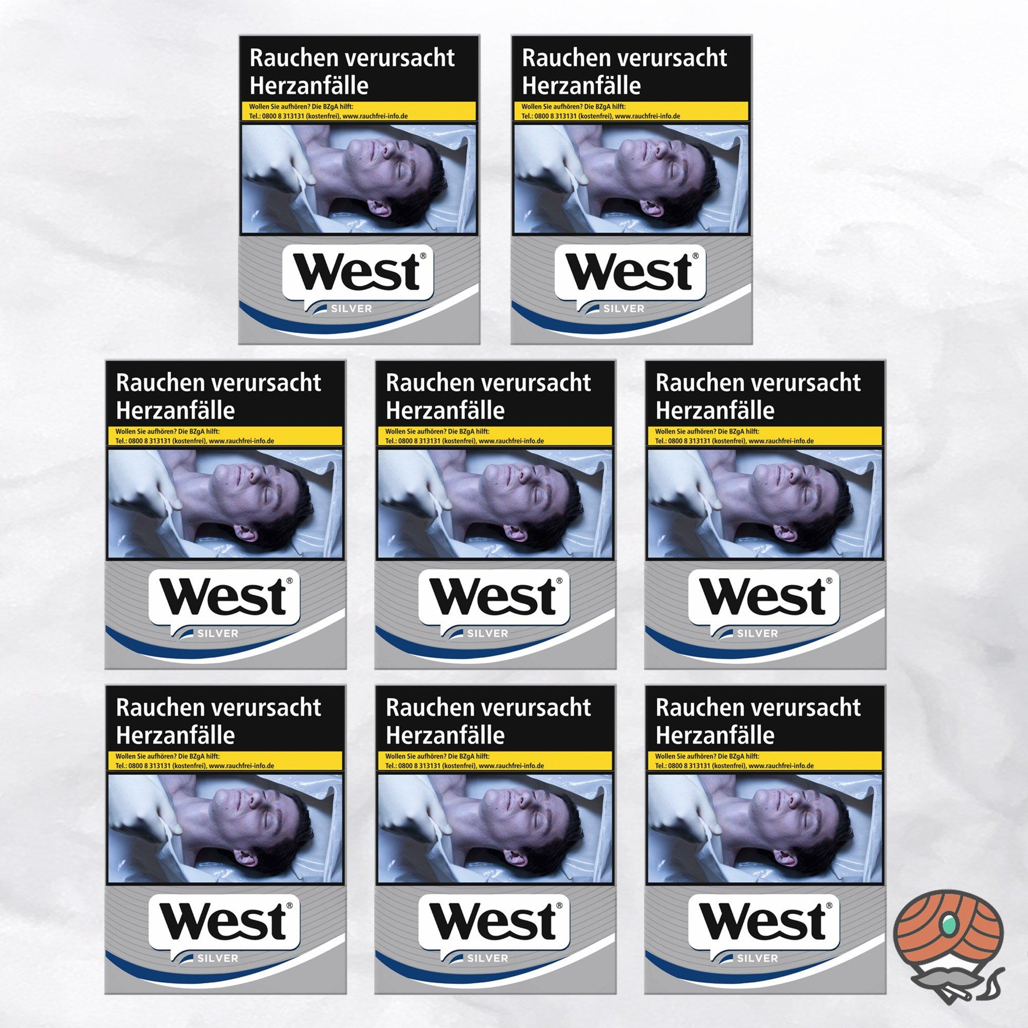 8 x West Silver Zigaretten à 37 Stück