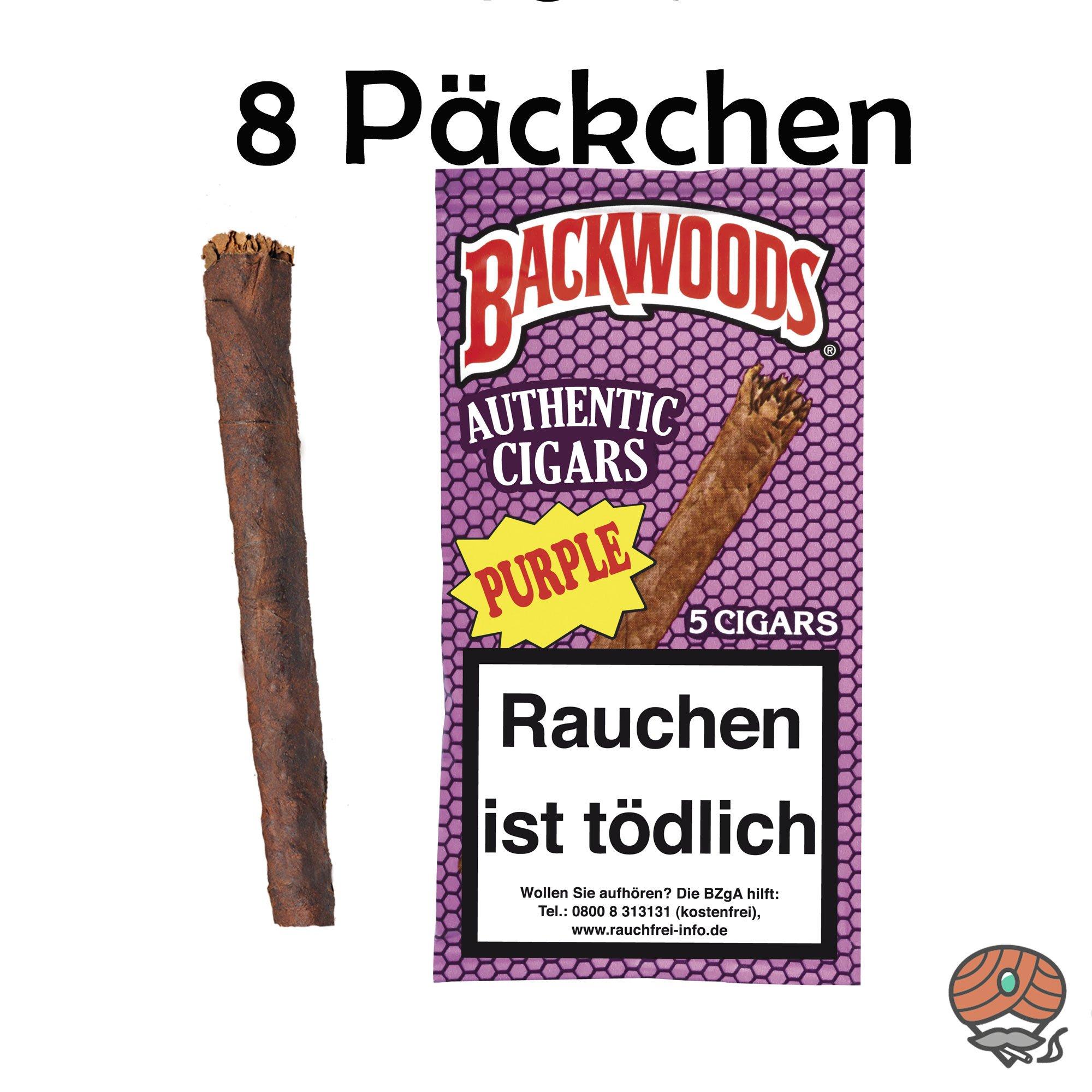 8x Backwoods Purple Authentic Cigars 5 Stück 100% Tabak im Humipack