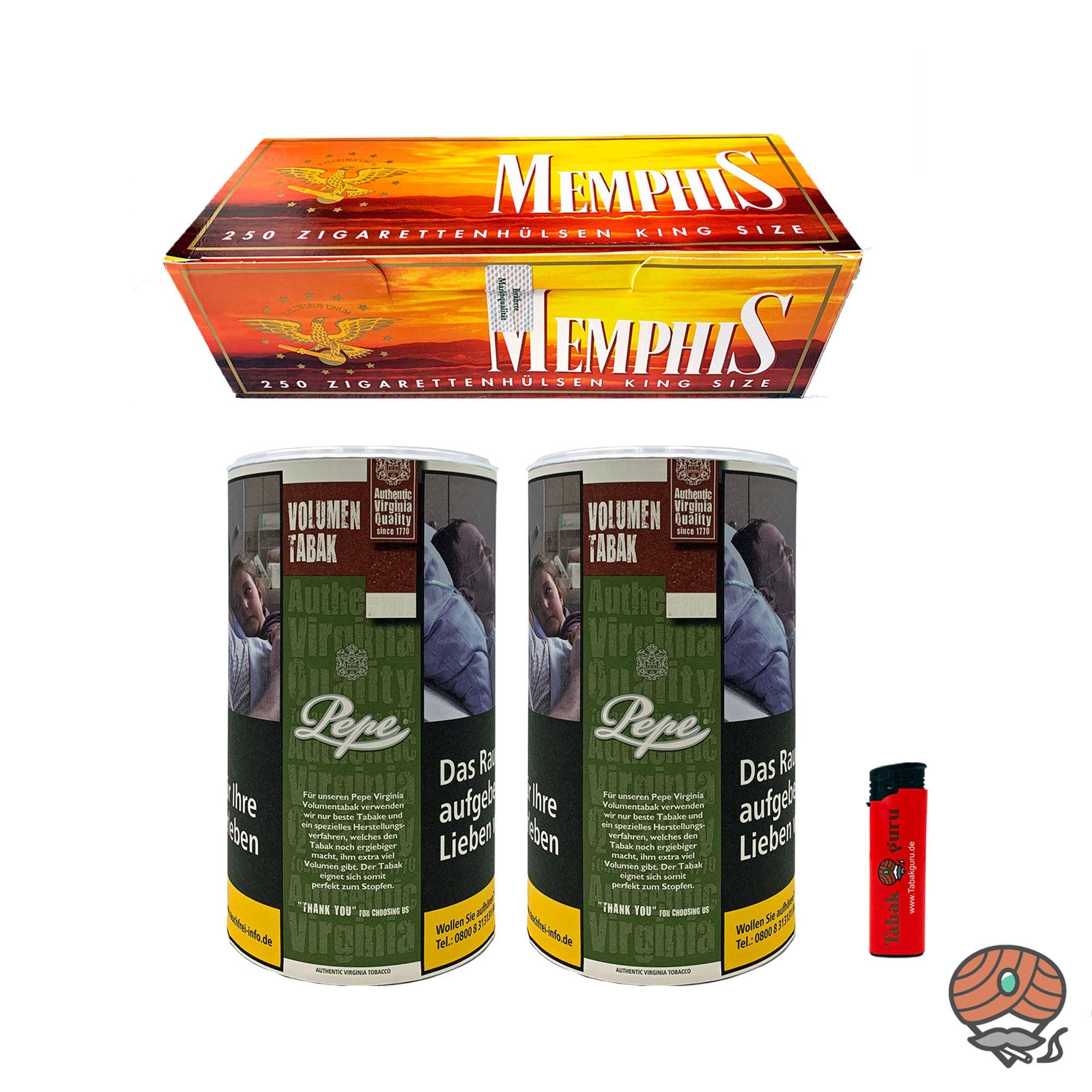 2 x Pepe Rich Green Tabak / Volumentabak 85g + Memphis King Size Hülsen