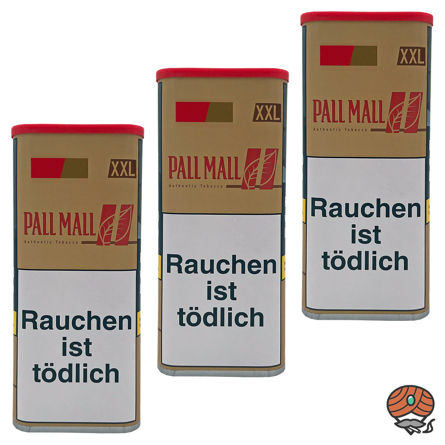 3x Pall Mall Authentic Red / Rot Volumentabak XXL Dose à 95g