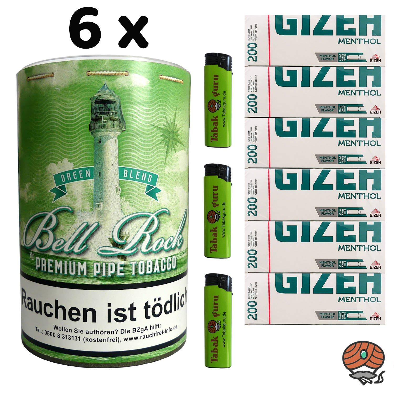 6 x 160g Bell Rock Tabak Green Blend (wie Big Ben) Menthol Pfeifentabak + 1.200 GIZEH Menthol Hülsen