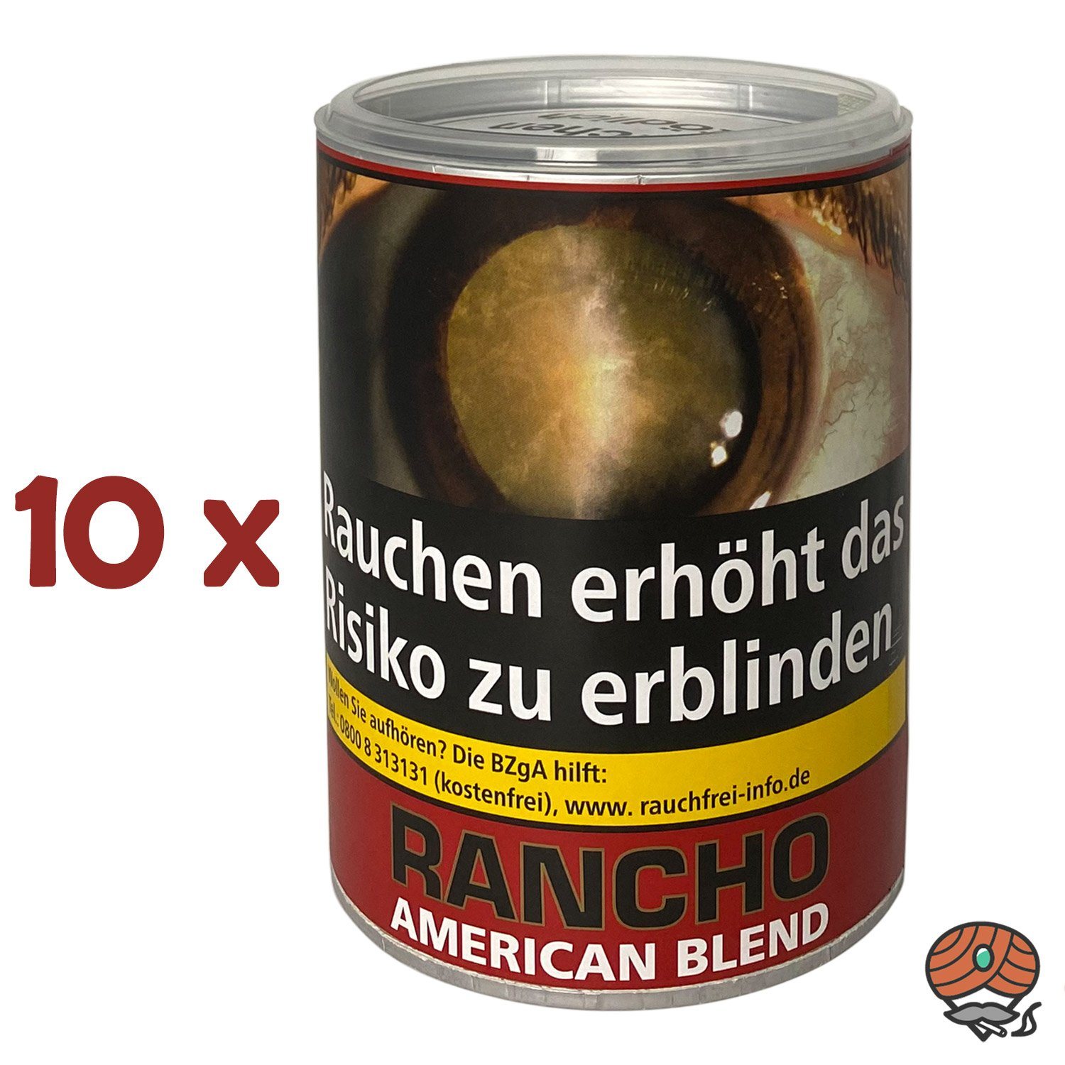 10 x Rancho American Blend Zigarettentabak Dose à 190 g