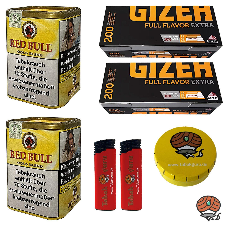 2x Red Bull Gold Blend Zigaretten-Tabak 120g Dose + 400 Gizeh Full Flavor Extra Hülsen + Zubehör