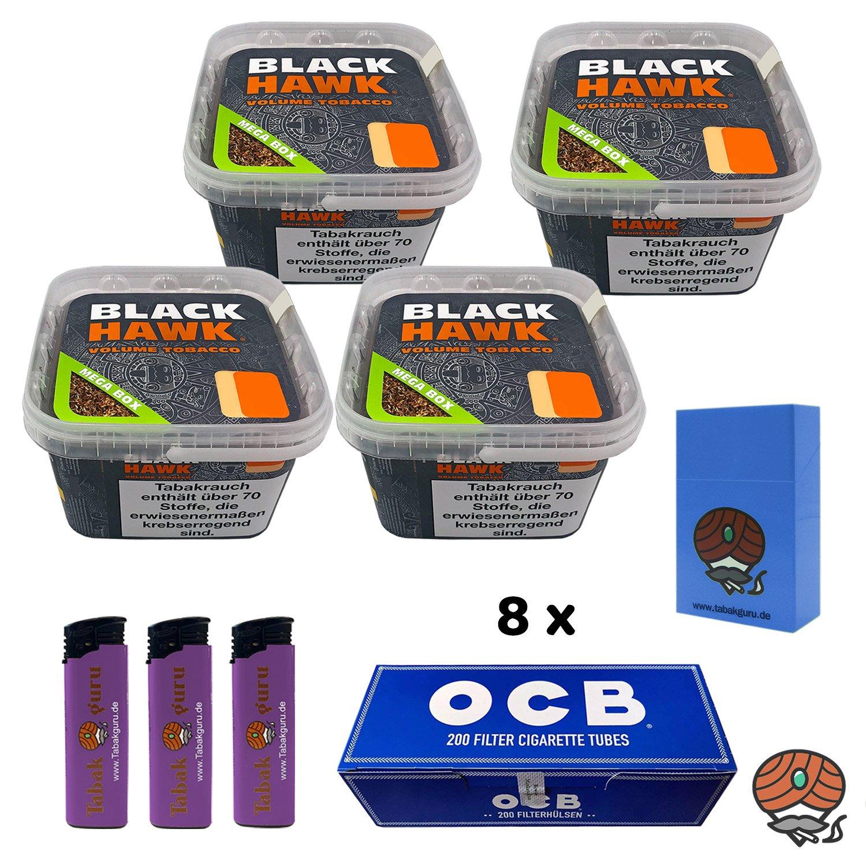 4 x Black Hawk Volumentabak 230 g Mega Box + 8 x OCB Filterhülsen + weiteres
