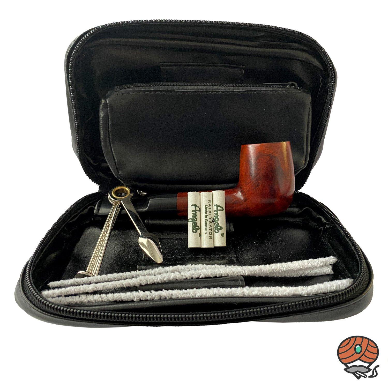 Angelo Pfeifen Einsteiger-Set, schwarz inkl. Tabaktasche: Pfeife + Tasche + Zubehör