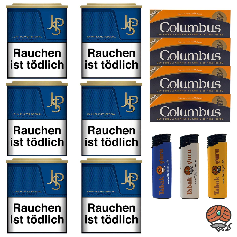 6x JPS John Player Special Blue / Blau 42g Dose Tabak, Columbus Hülsen, Feuerzeuge