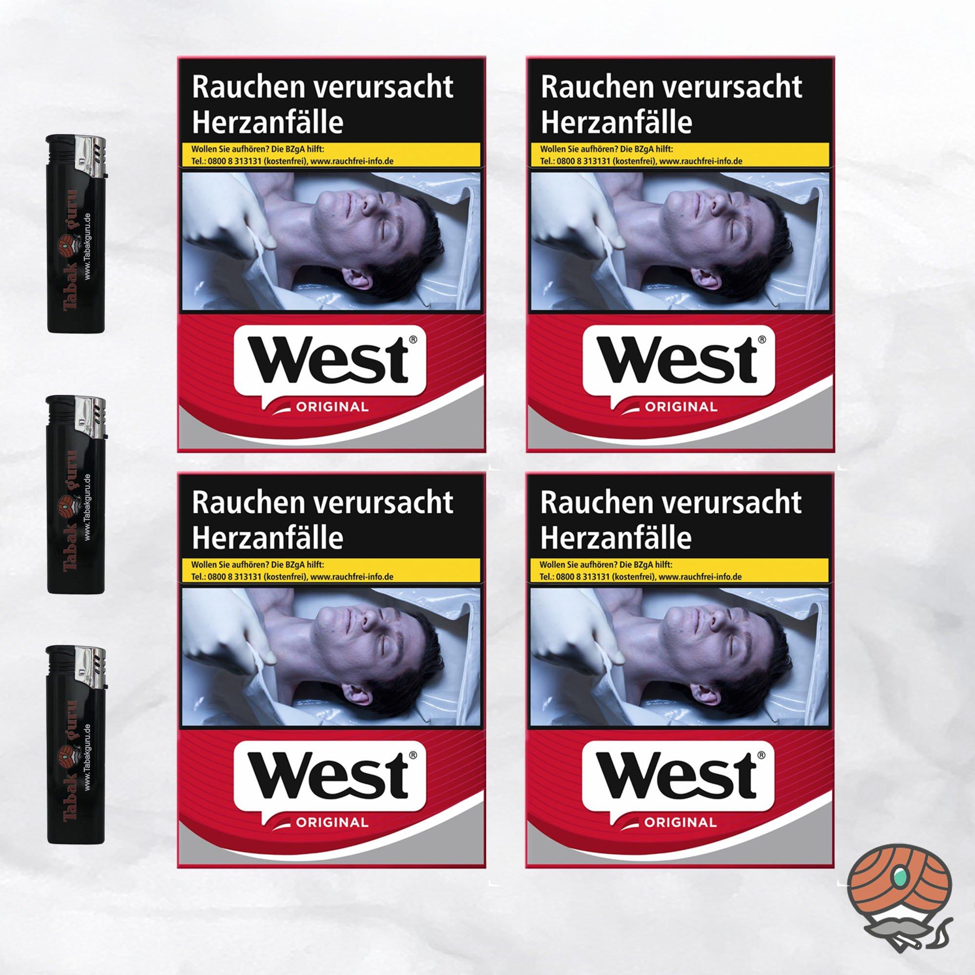 4 West Red Zigaretten á 38 Stück + 3 Feuerzeuge